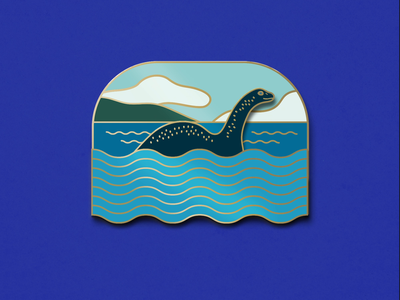 Nessie Sliding Enamel Pin for sale product monster creature illustration desjgn enamel pin cryptid nessie loch ness monster
