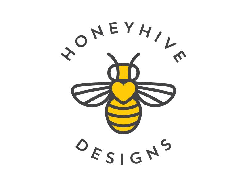 HoneyHive Logo logo line work bee bee hive honey heart