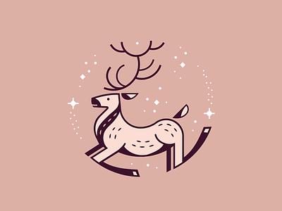 Jingle jangle sparkle run deer animal illustration cute monoline christmas holidays reindeer