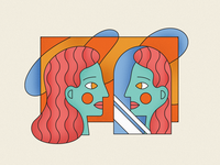 Pretty Useful Co. Values: Honesty mirror person texture branding homepage monoline brand illustration