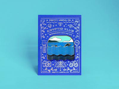Nessie sliding pin letterpress holofoil mamas sauce animation cryptid nessie enamel pin swag illustration
