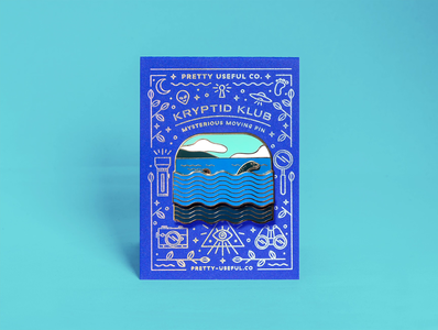 Nessie sliding pin letterpress holofoil mamas sauce animation cryptid nessie enamel pin swag illustration