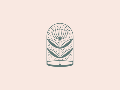 Under glass plant illustration botanical grow mark glass plant design logo illustration