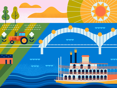 Memphis Mural illustration design memphis mural design cityscape vector building mural