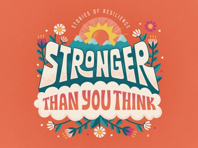 Stronger nonprofit youth kids sun brand podcast branding typography illustration