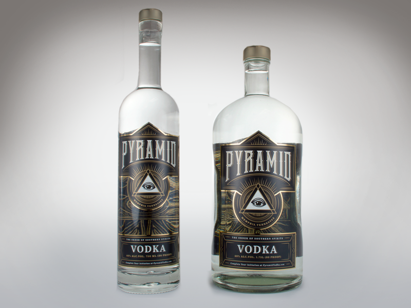 Pyramid Vodka Bottles liquor vodka label design illustration packaging lettering illuminati secret society