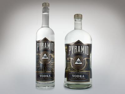 Pyramid Vodka Bottles liquor vodka label design illustration packaging lettering illuminati secret society