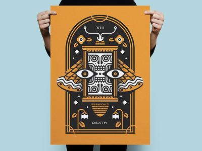 Tarot Series 1: Death skull time hourglass moth death poster screenprint print illustration monoline tarot