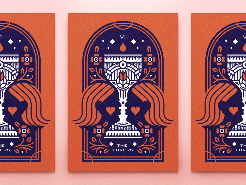 Tarot Series 2: The Lovers occult optical illusion monoline wine flower blood screenprint poster cards cup tarot