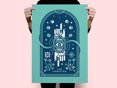 Tarot Series 3: The Magician hand tarot screenprint poster occult monoline flower eclipse cards moon sun illustration