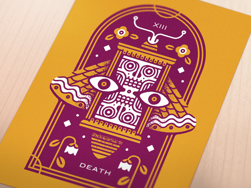 Death print time tarot skull screenprint print poster moth monoline illustration hourglass death