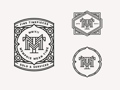 MMT logos monoline badge horology time clock brand logo signage monogram