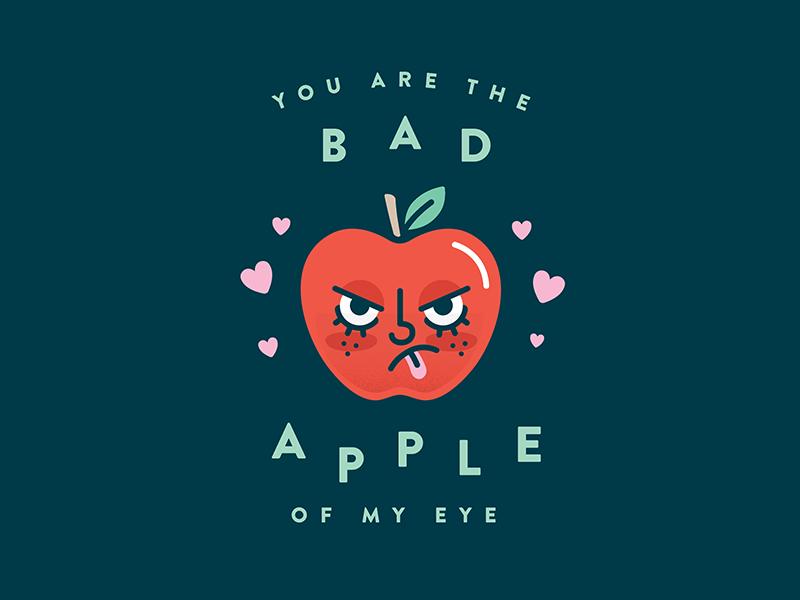 Bad Apple cute bad apple love heart apple illustration card valentine