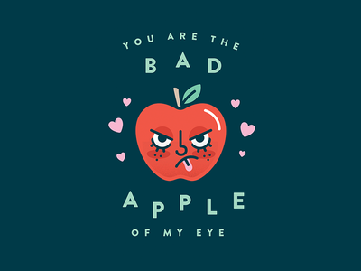 Bad Apple cute bad apple love heart apple illustration card valentine