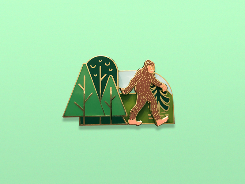 The Sasquatch Slider pretty useful pin game strong pin game for sale enamel pin cryptid yeti bigfoot pin