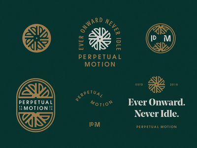 Never idle. logo brand logo family typography badge film motion icon