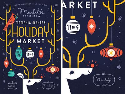 Oh Deer poster market antlers holiday christmas ornament reindeer vector illustration