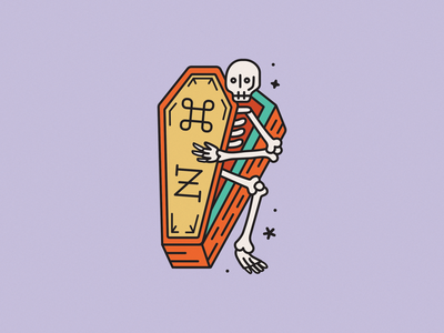 Undone to Death command z halloween creepy tattoo coffin skeleton skull line vector cute monoline illustration