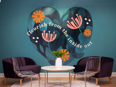 Sundara Wellness mural flowers floral tote cute typography design brand logo illustration