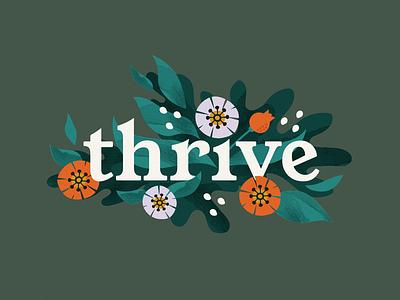 Thrive poppy watercolor vector type leaves flower botantical floral design brand illustration