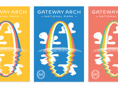 Type Hike Arch water reflection colors national park architecture st louis type hike rainbow poster illustration