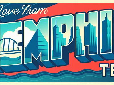 With Love From Memphis bridge buildings city skyline monoline postcard lettering memphis design tennessee memphis billboard mural illustration