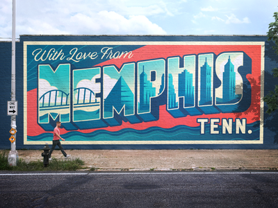 With Love From Memphis bridge buildings city skyline monoline postcard lettering memphis design tennessee memphis billboard mural illustration