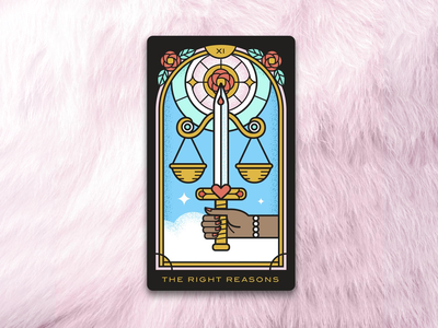 Right Reasons Tarot 2: The Right Reasons the bachelor monoline justice tarot card tarot illustration design