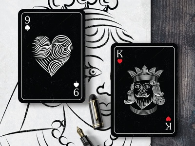 Playing Cards card art card  game red heart king grayscale new concept experiement black  white bnw art playing cards cards design black card black sketch line art playing-card cards