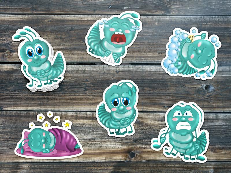 Caterpillar story setdesign color art emojis dude emoji set emoji live story sticker set story insect caterpillar set green creative work creative  design pack sticker pack sticker design sticker