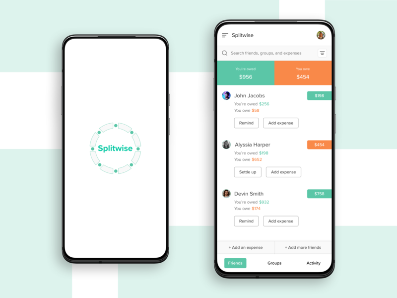 Finance management app - Splitwise redesign concept