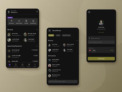 Payment App money upi payments finance fintech appdesign black dark theme minimal flat design ux ui