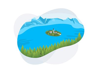Lake Bled slovenia design sketch illustration vector