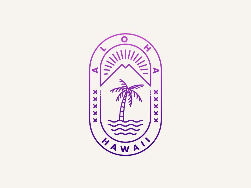 Aloha From Hawaii island aloha hawaiian tropical monoline illustration logo hawaii