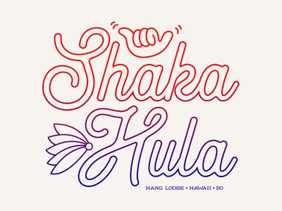 Shaka Hula lettering icon design flat vector branding illustration logo tropical island aloha tshirt tshirt graphics typography line art monoline hang loose shaka hawaiian hawaii