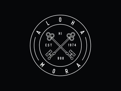 Aloha Mora vector line art typography tshirt graphics tshirt shaka hang loose design branding tropical monoline logo island illustration hawaiian hawaii aloha