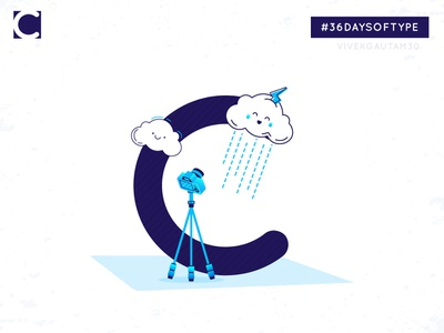 C for Clouds designoftheday everydaydesign graphics  design illustrator design 36days clouds visualcommunication 3-color 3 color adobehiddentreasures illustrator typo typogaphy 36daysoftype-05 36daysoftype-c illustration