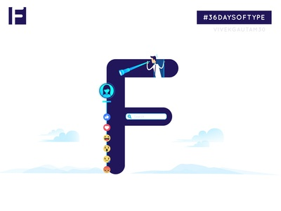 F for Facebook fans followers design a day designchallenge adobeillustration adobeillustrator illustration awareness campaign 3 color visual facebook visual communication typografia letter art graphic  design 36days 36daysoftype-06 36daysoftype