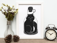 Cat in a bottle, hand drawn illustration
