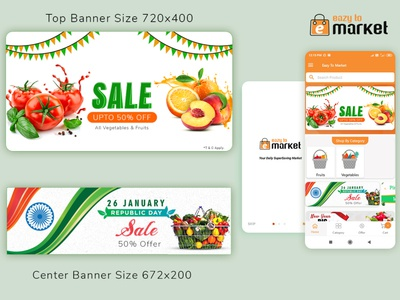 Grocery Mobile app banner republic day sale