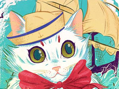 Sailor Kitty Print illustrator illustration photoshop retro vector flowers stipple kitty white hat sailor cat