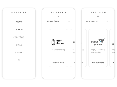 Menu and portfolio section | Espilon web | Mobile version | 2/3