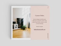Custom Orders and Contact Page