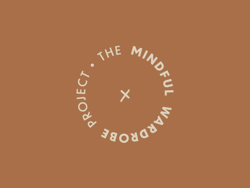 The Mindful Wardrobe Project sans serif type stitching stitch fashion wardrobe logo icon circular logo logomark logo branding