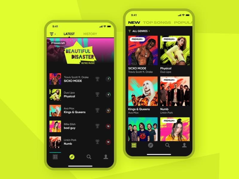 The Social Singing App singer karaoke uiuxdesign xd ui kit player art music art xd design branding illustrator ux ui app mobile music app music