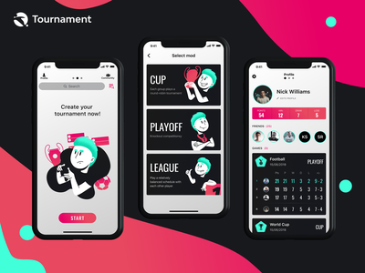 Tournament Mobile App minimal ux ui tournament sport app sketch mobile logo ios illustrator illustration icon football app football figma fifa design branding app animation