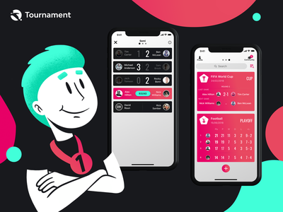 Tournament Mobile App identity ux ui tournament sport app sketch mobile logo ios illustrator illustration icon football app football figma fifa design app branding animation