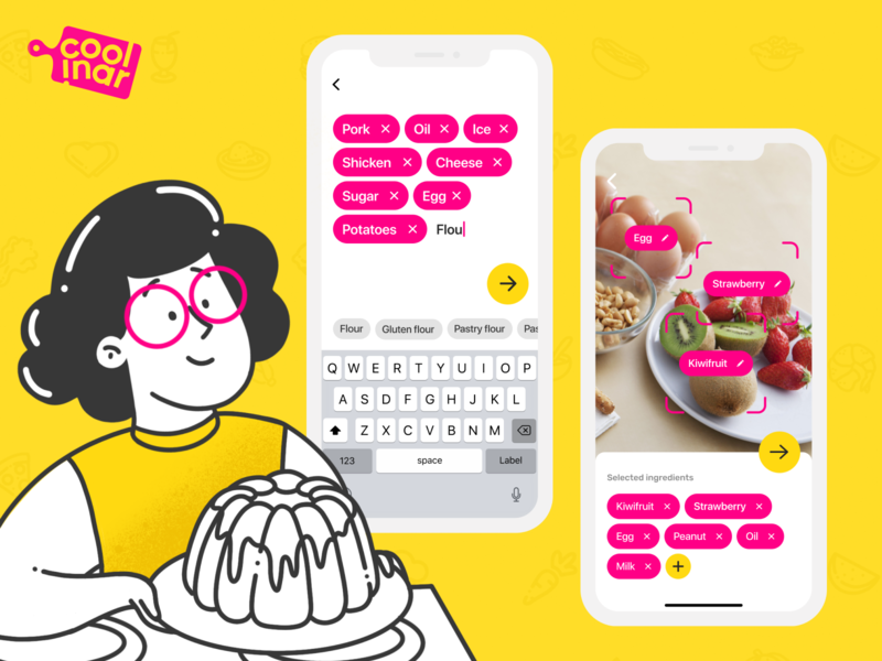 Coolinar | Recipe Mobile App cookbook vector figma food app food recipe card recipes recipe app cooking icon ux ui mobile logo ios illustrator illustration design branding app