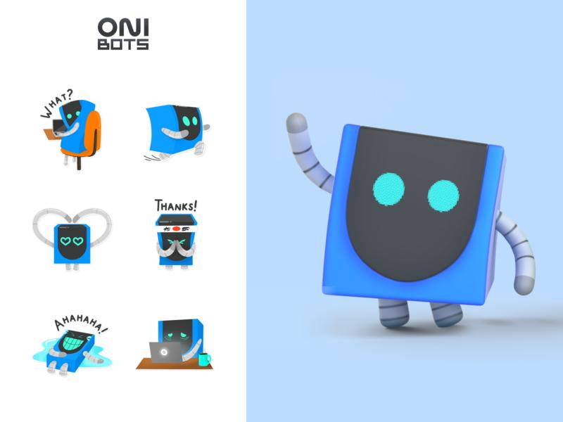 OniBots | Corporate mascots ONIX identity brand sticker set art sticker robots mascot character illustrator branding character grafic design mascot logo mascot