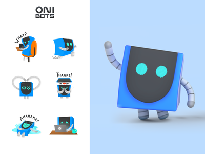 OniBots   Corporate mascots ONIX identity brand sticker set art sticker robots mascot character illustrator branding character grafic design mascot logo mascot